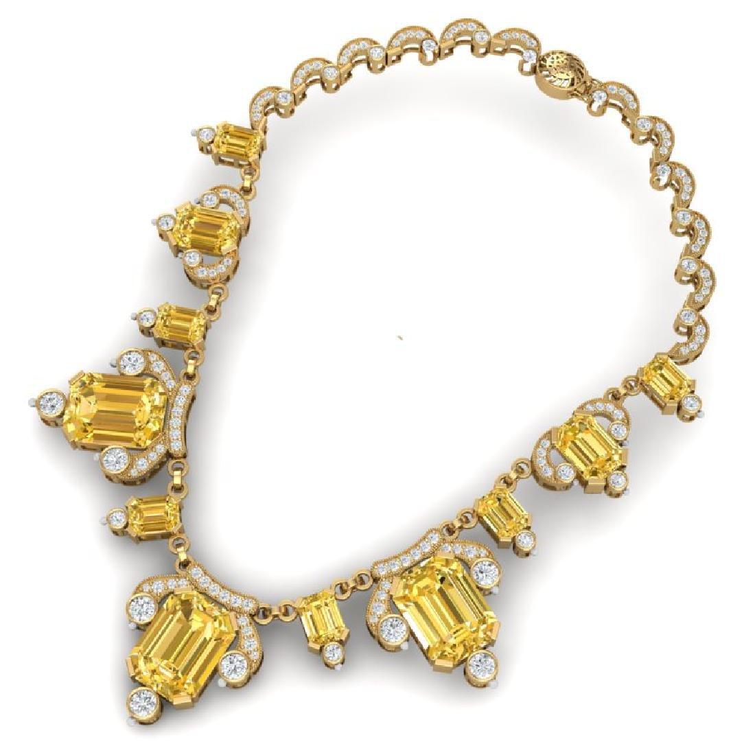 71.48 CTW Royalty Canary Citrine & VS Diamond Necklace - 3