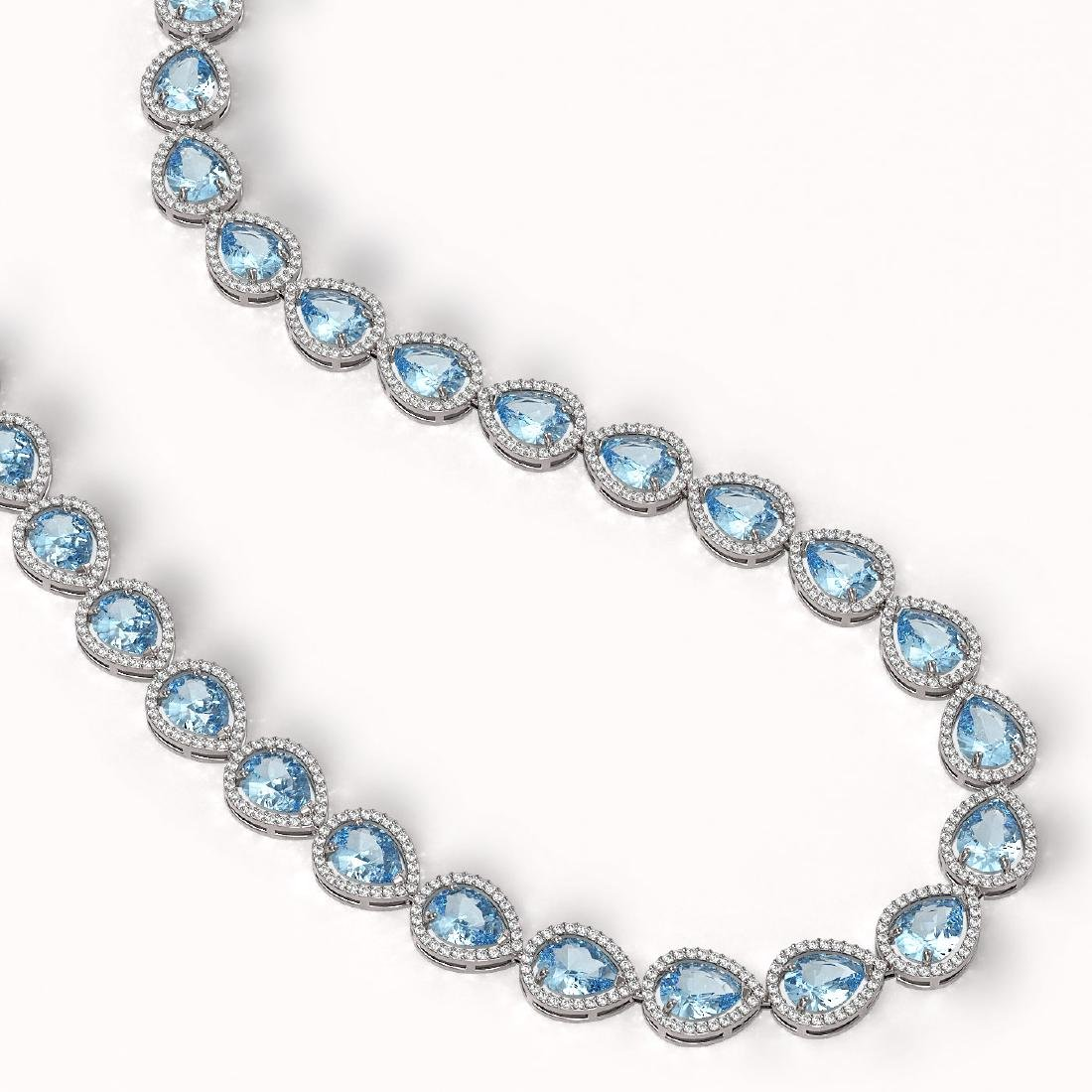 41.6 CTW Sky Topaz & Diamond Halo Necklace 10K White - 2