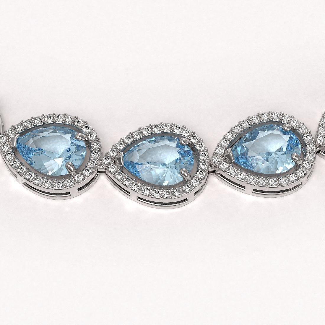41.6 CTW Sky Topaz & Diamond Halo Necklace 10K White - 3