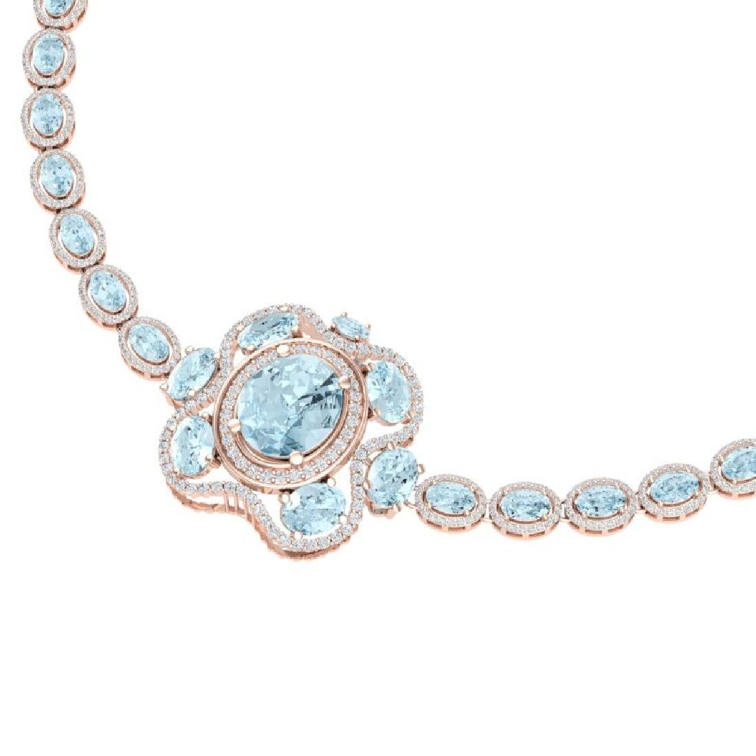 47.72 CTW Royalty Sky Topaz & VS Diamond Necklace 18K