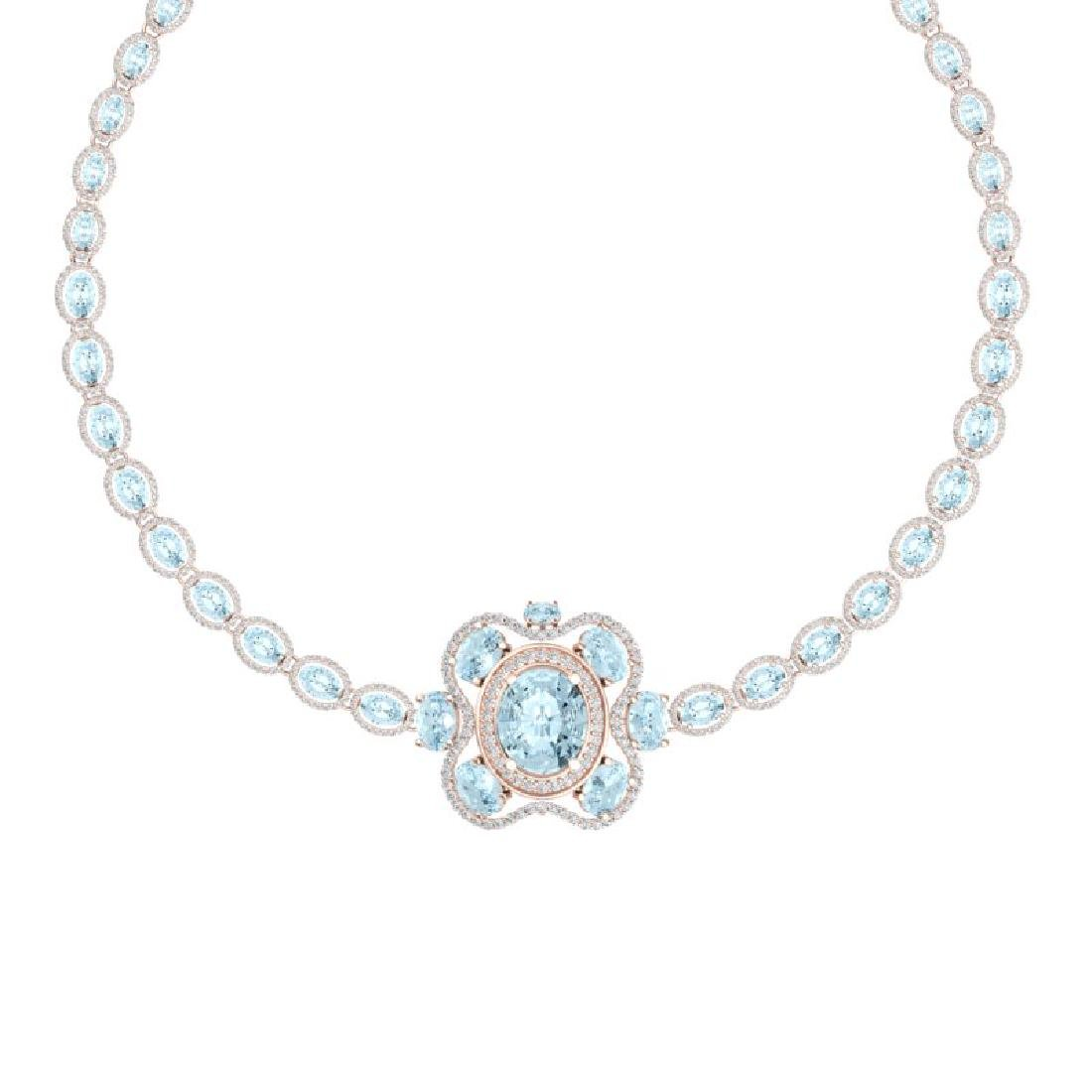 47.72 CTW Royalty Sky Topaz & VS Diamond Necklace 18K - 2