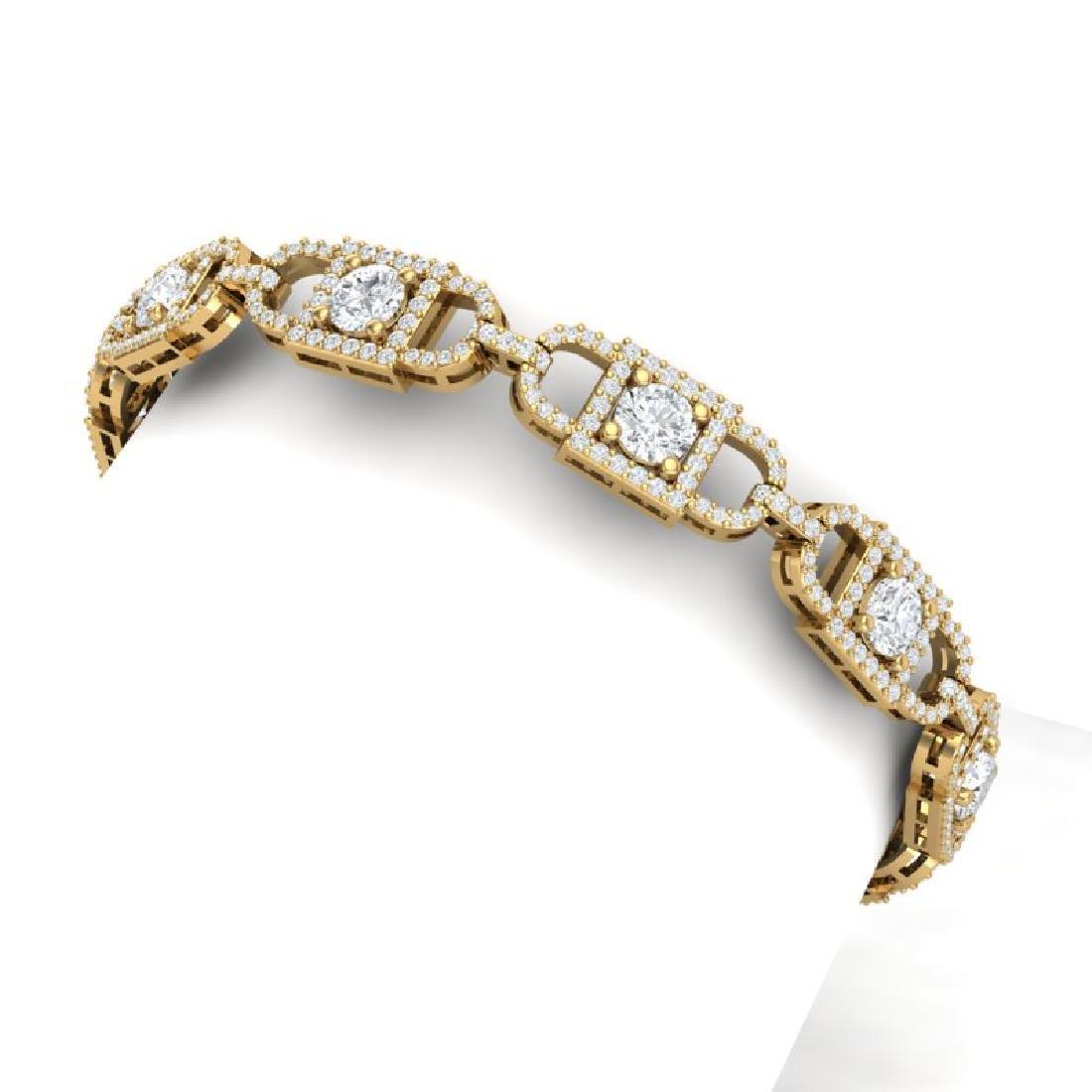 8 CTW Certified SI/I Diamond Halo Bracelet 18K Yellow