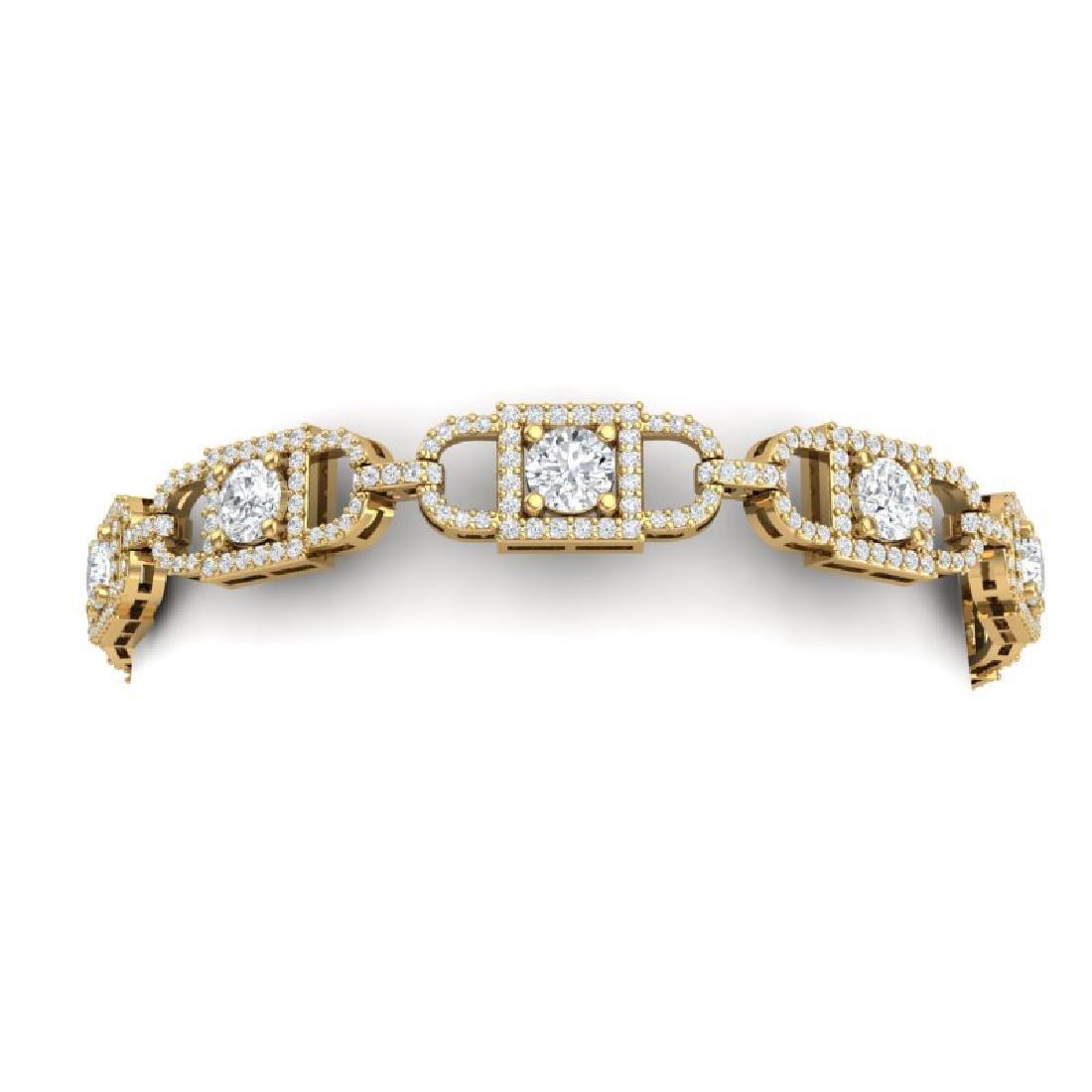 8 CTW Certified SI/I Diamond Halo Bracelet 18K Yellow - 2