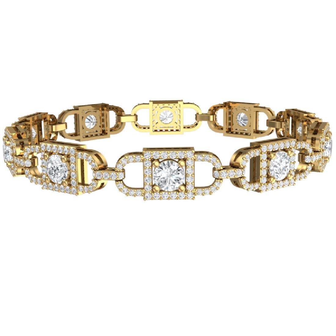 8 CTW Certified SI/I Diamond Halo Bracelet 18K Yellow - 3