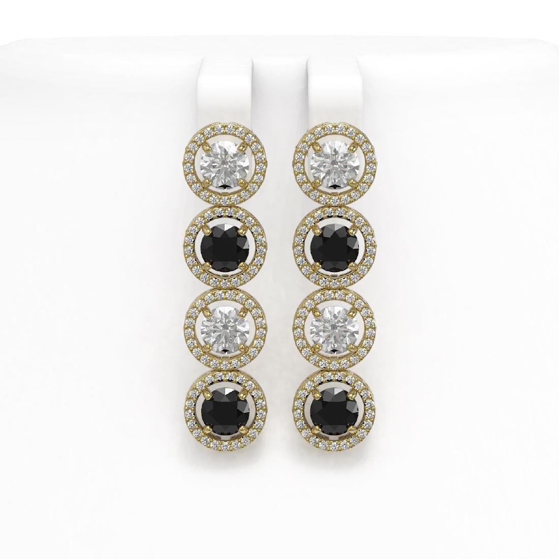 6.22 CTW Black & White Diamond Designer Earrings 18K