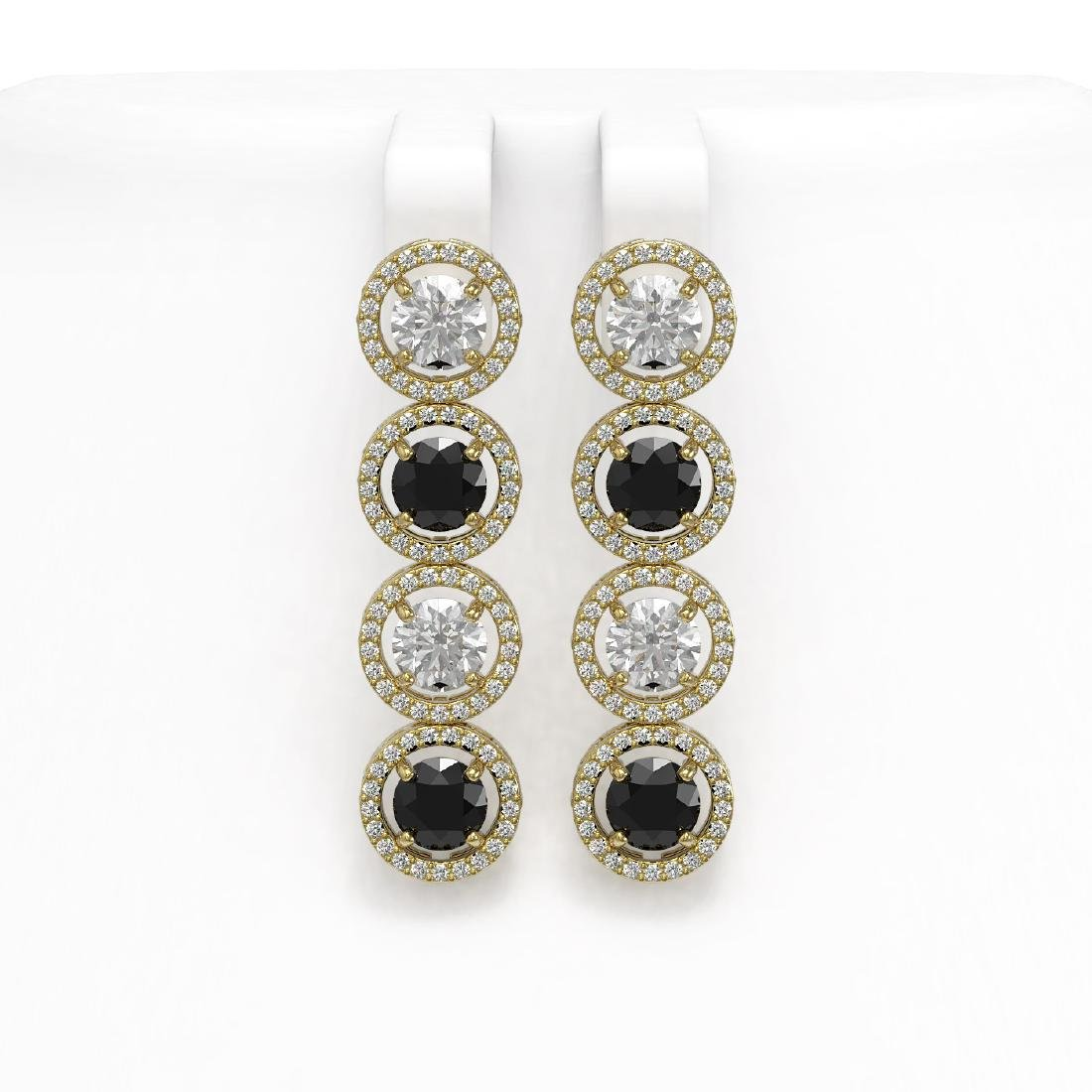 6.22 CTW Black & White Diamond Designer Earrings 18K
