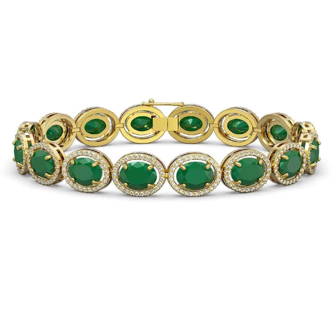 31.79 CTW Emerald & Diamond Halo Bracelet 10K Yellow