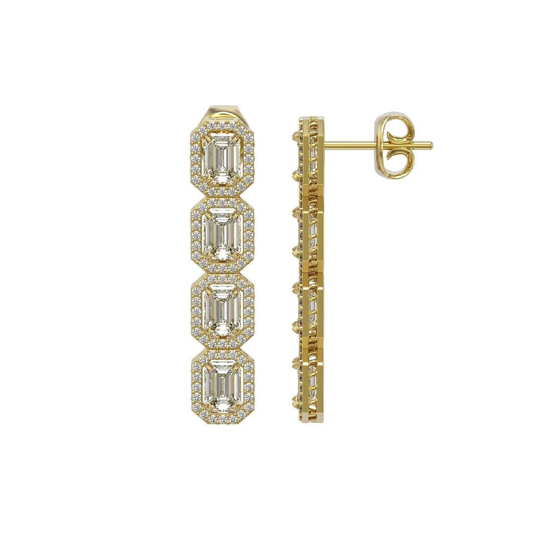 6.08 CTW Emerald Cut Diamond Designer Earrings 18K - 2