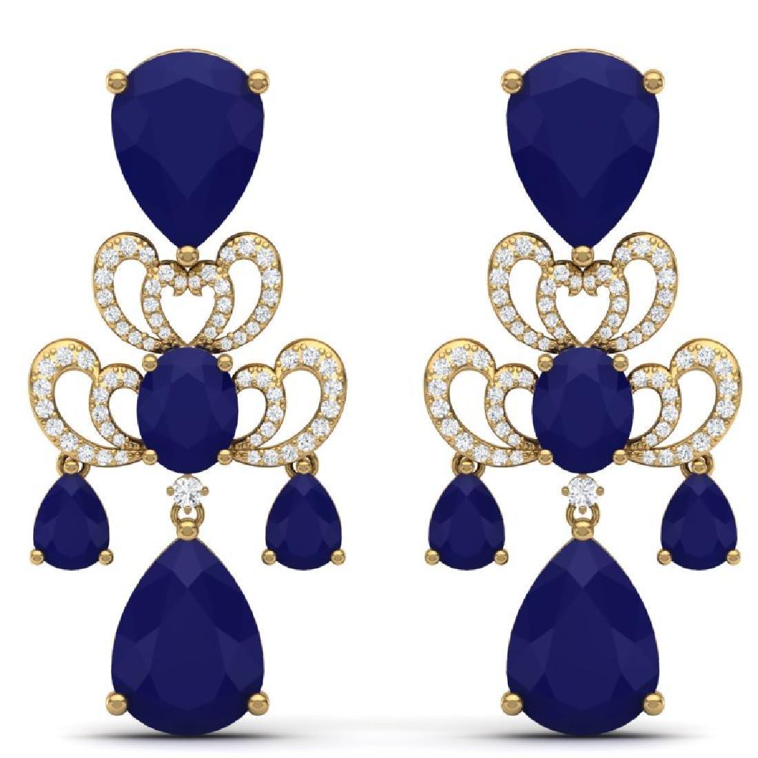 58.73 CTW Royalty Sapphire & VS Diamond Earrings 18K