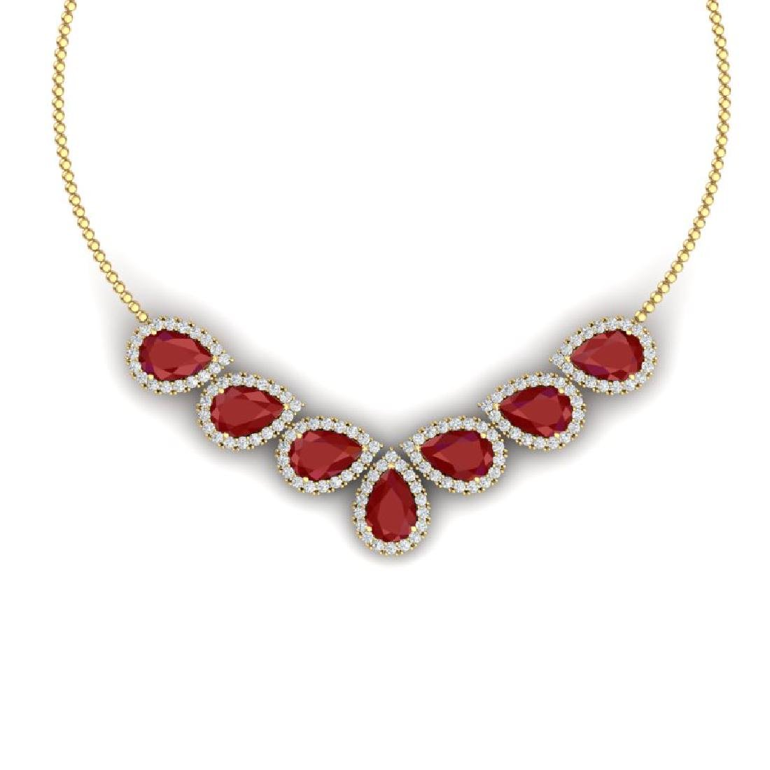 34.72 CTW Royalty Ruby & VS Diamond Necklace 18K Yellow