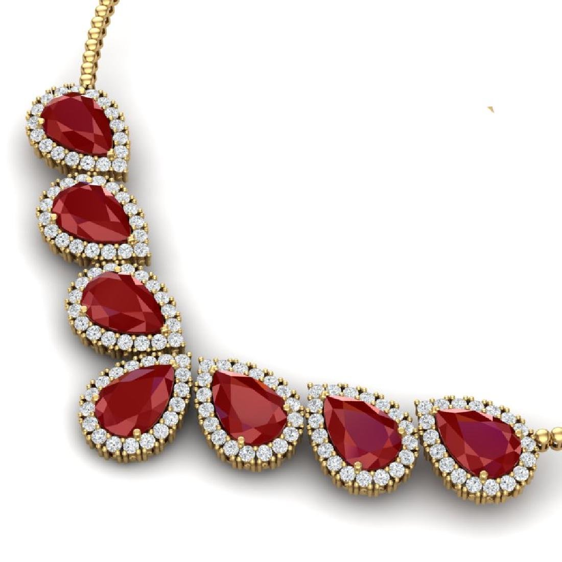 34.72 CTW Royalty Ruby & VS Diamond Necklace 18K Yellow - 2