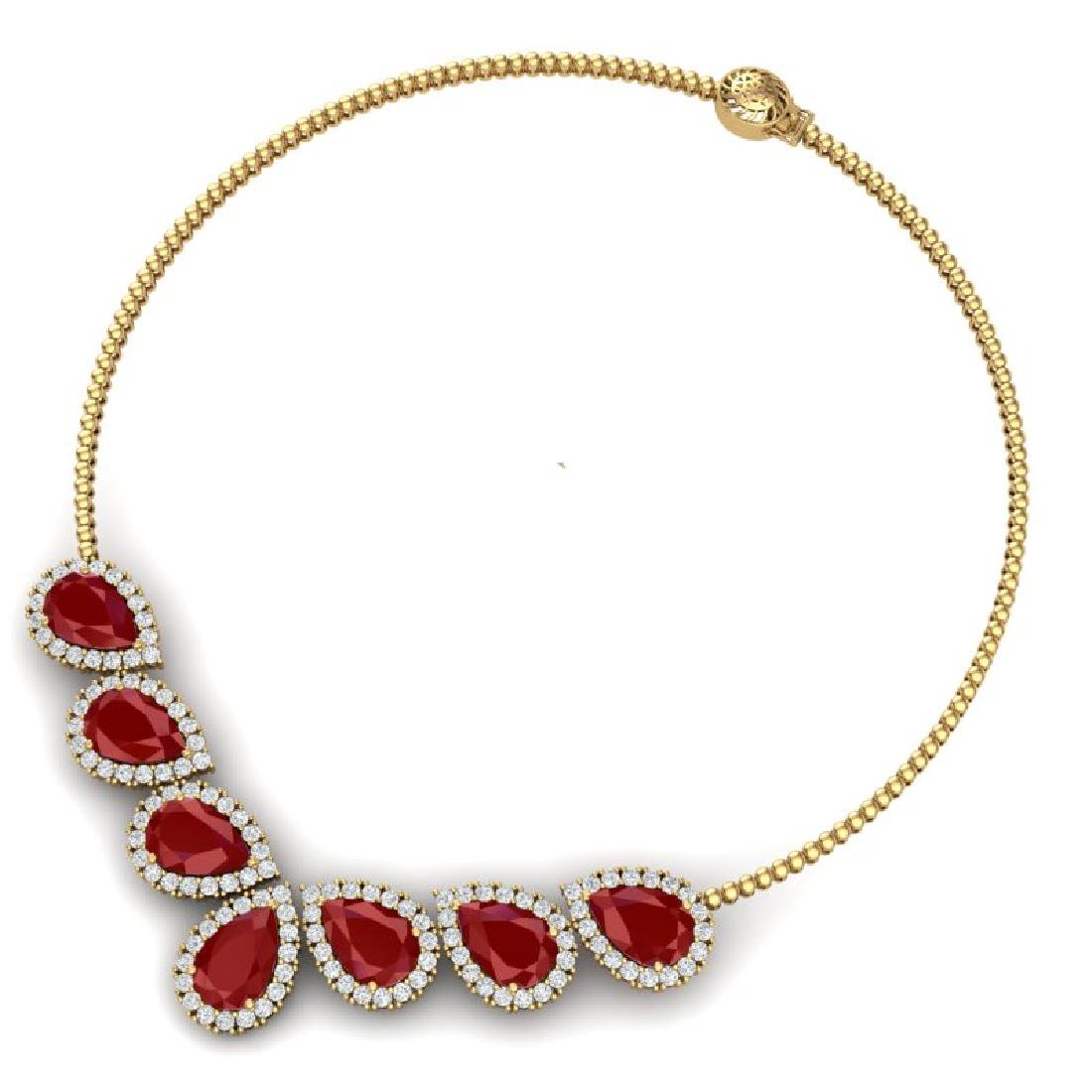 34.72 CTW Royalty Ruby & VS Diamond Necklace 18K Yellow - 3
