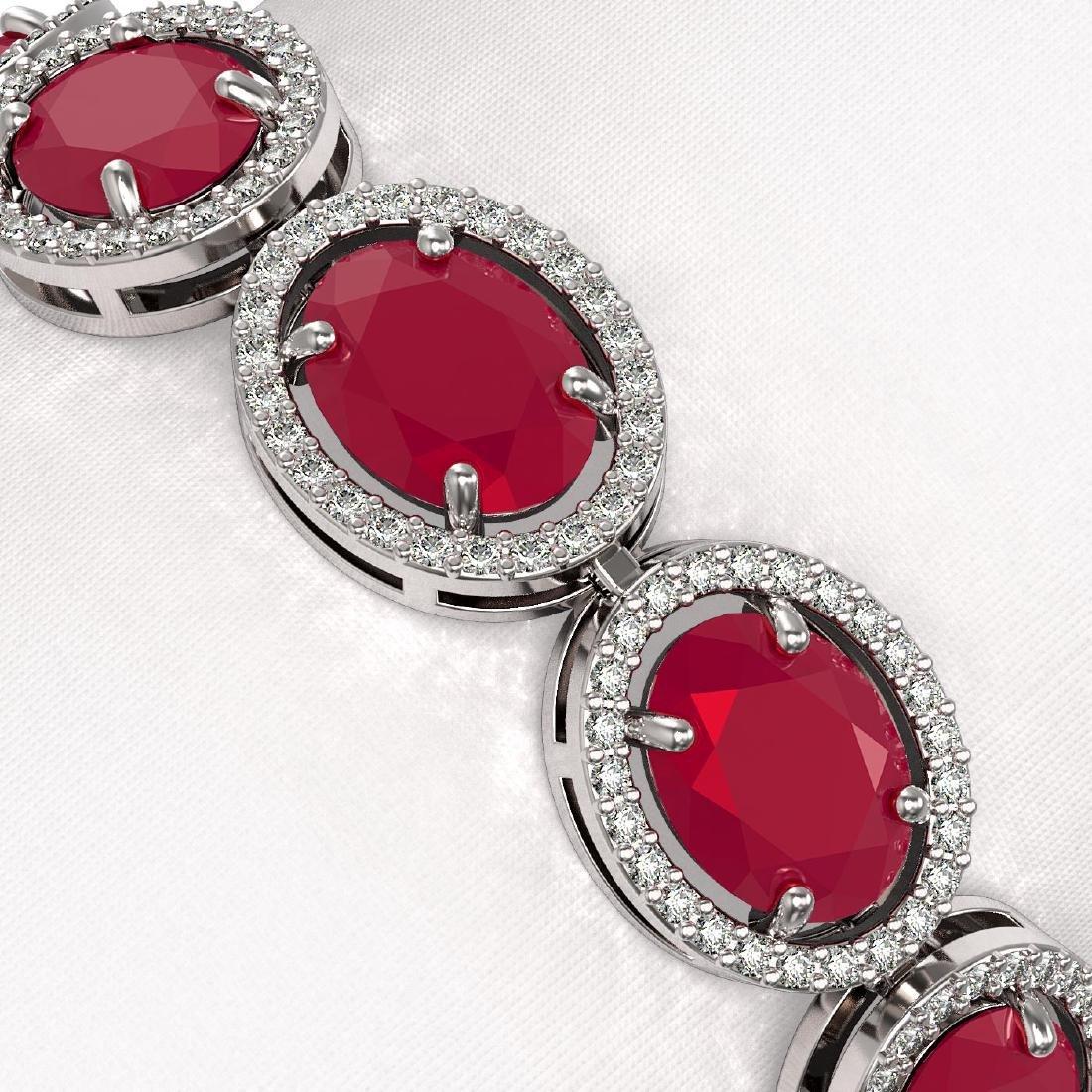 31.79 CTW Ruby & Diamond Halo Bracelet 10K White Gold - 3