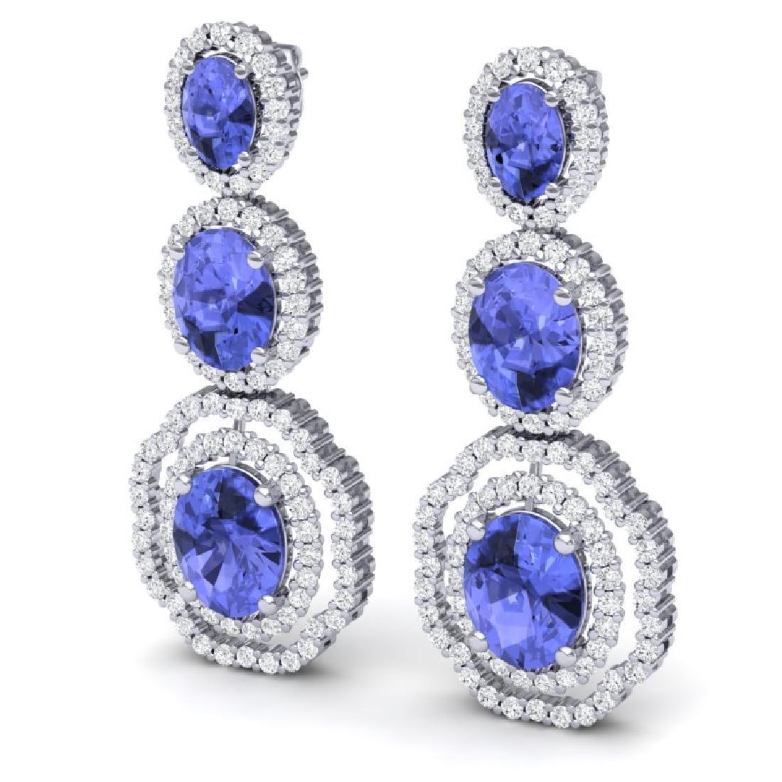 17.32 CTW Royalty Tanzanite & VS Diamond Earrings 18K - 2