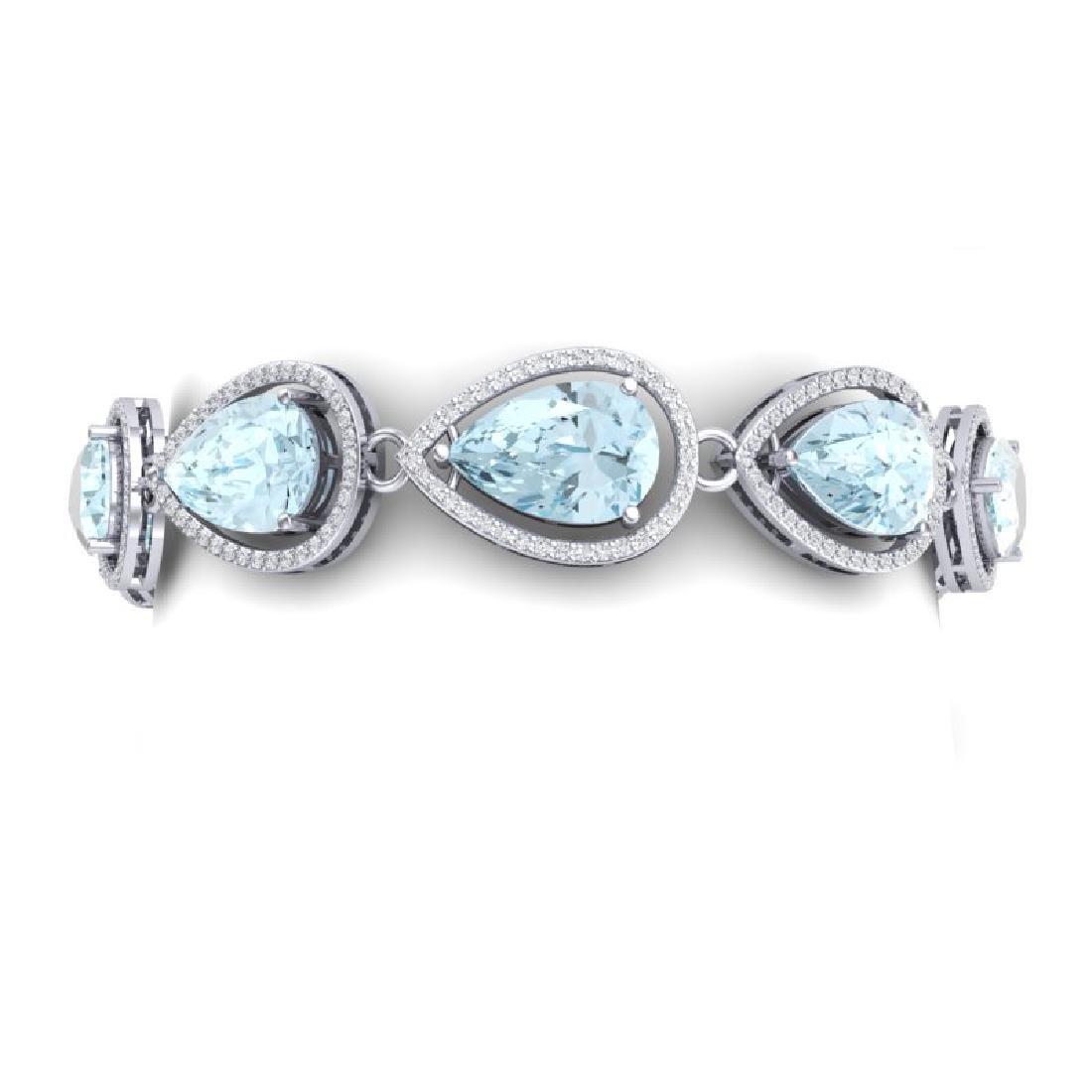 25.53 CTW Royalty Sky Topaz & VS Diamond Bracelet 18K