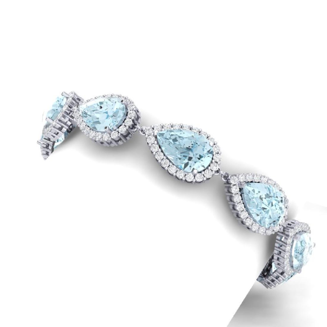 41.87 CTW Royalty Sky Topaz & VS Diamond Bracelet 18K - 2