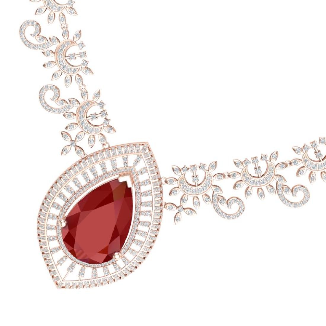 65.75 CTW Royalty Ruby & VS Diamond Necklace 18K Rose