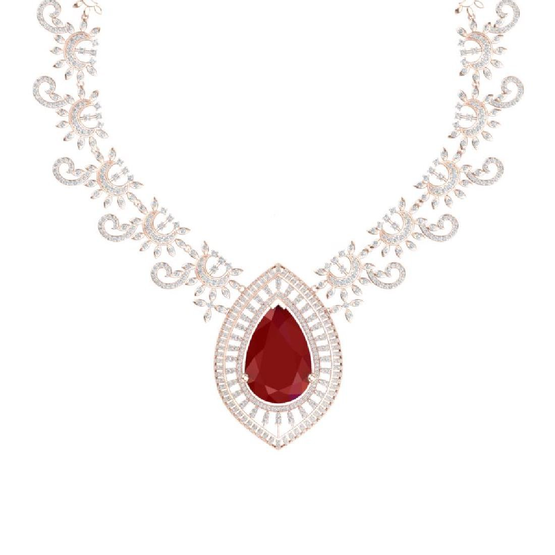 65.75 CTW Royalty Ruby & VS Diamond Necklace 18K Rose - 2