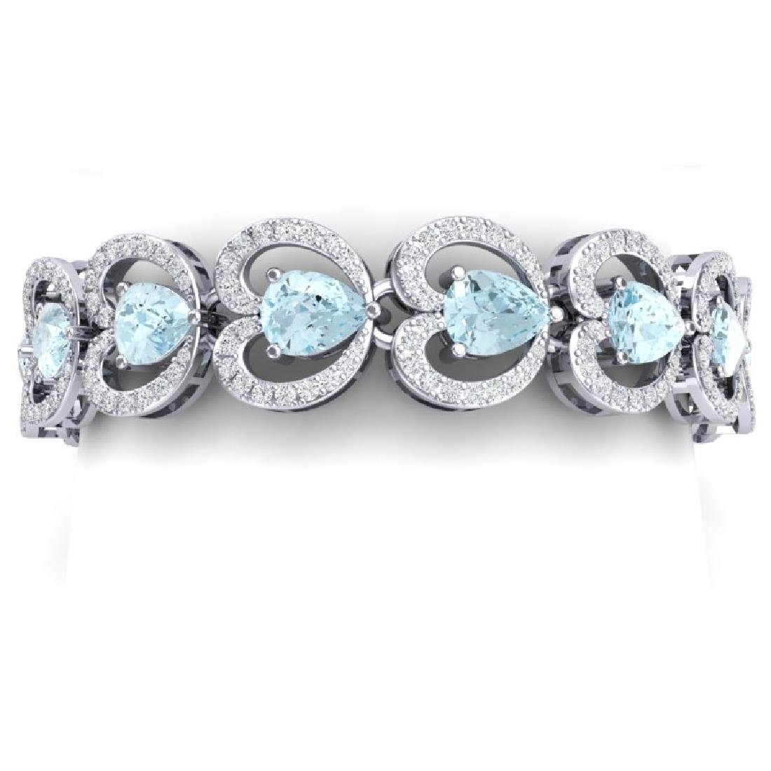 33.43 CTW Royalty Sky Topaz & VS Diamond Bracelet 18K