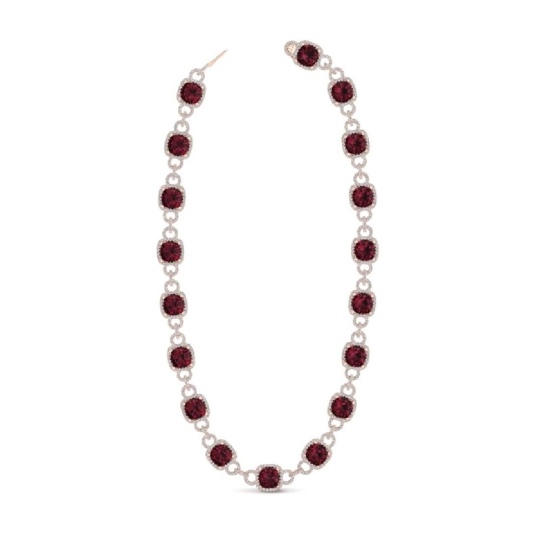 66 CTW Garnet & VS/SI Diamond Necklace 14K Rose Gold