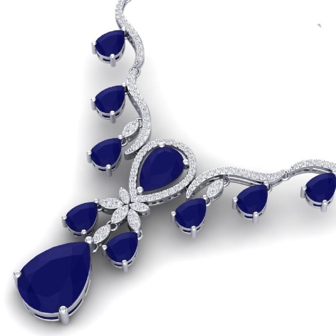 36.14 CTW Royalty Sapphire & VS Diamond Necklace 18K - 2