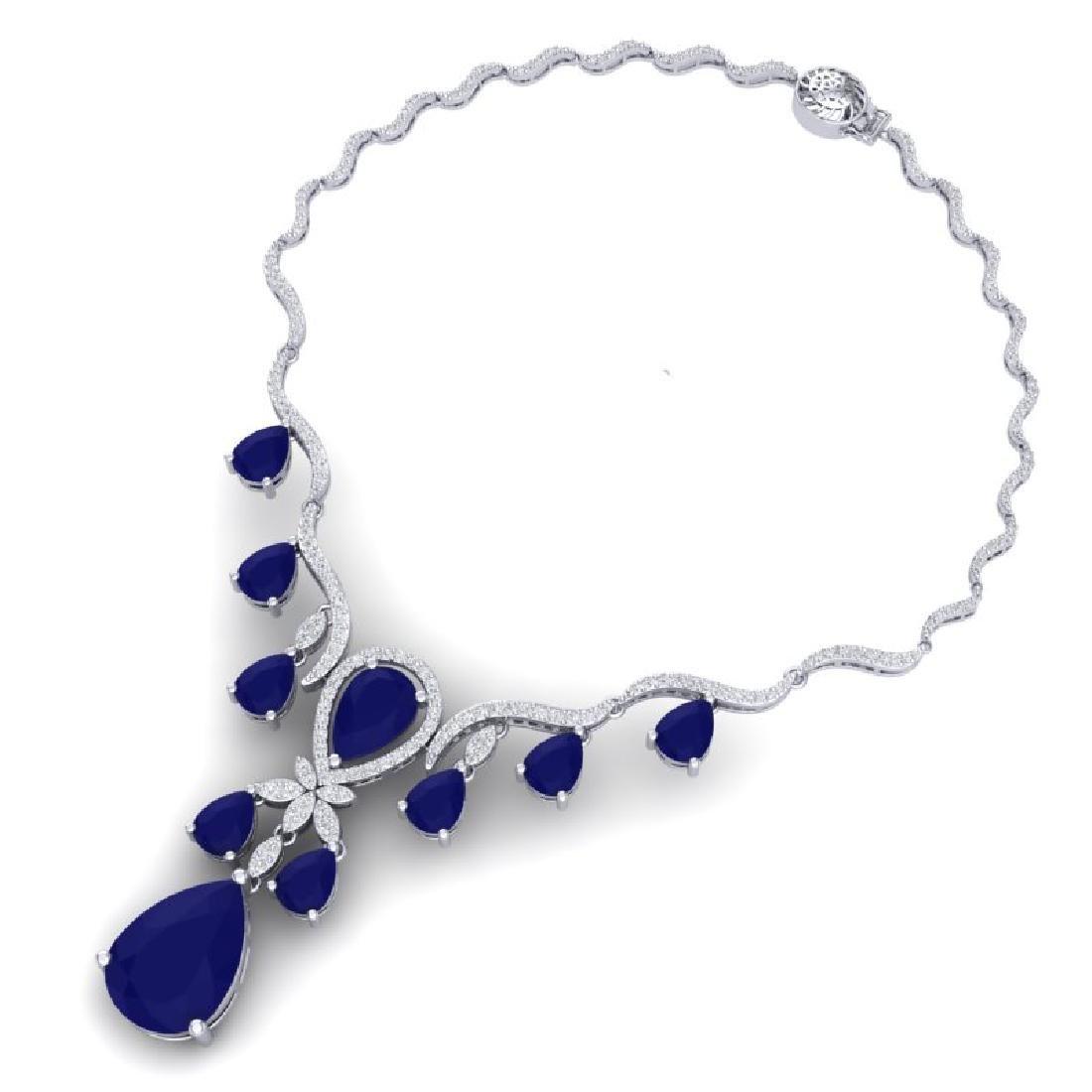 36.14 CTW Royalty Sapphire & VS Diamond Necklace 18K - 3
