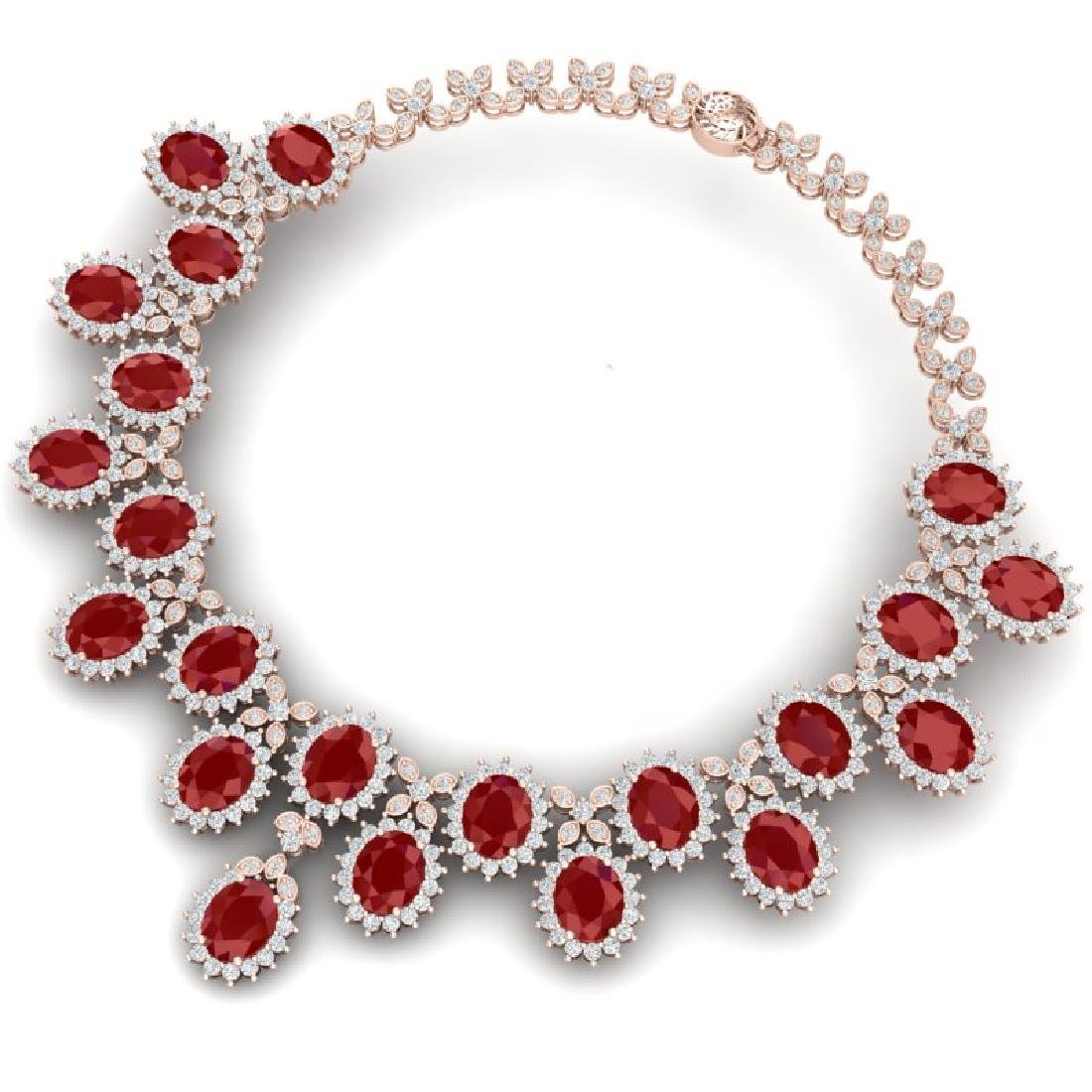81 CTW Royalty Designer Ruby & VS Diamond Necklace 18K - 3