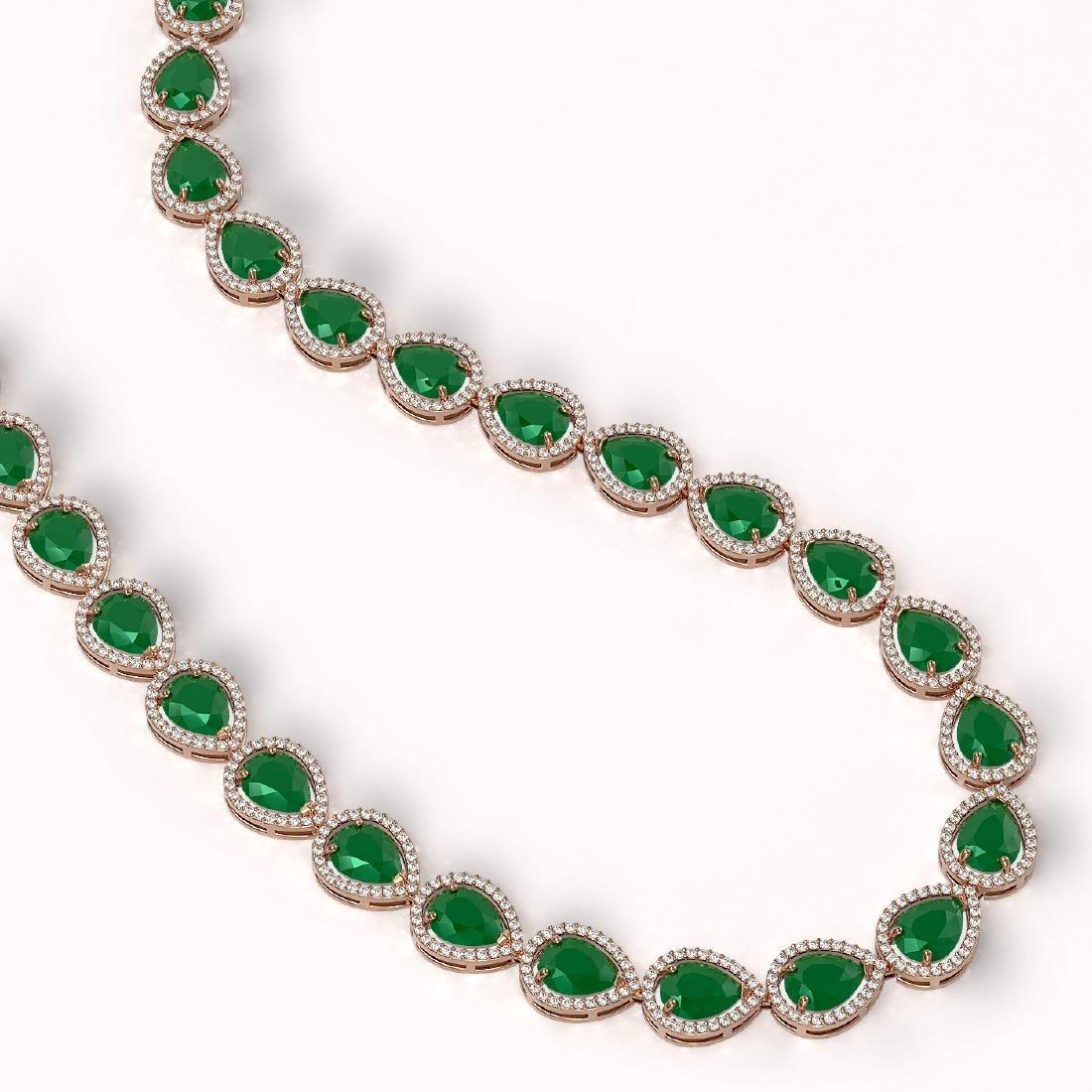 64.01 CTW Emerald & Diamond Halo Necklace 10K Rose Gold - 2