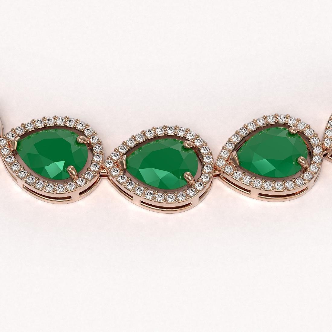 64.01 CTW Emerald & Diamond Halo Necklace 10K Rose Gold - 3