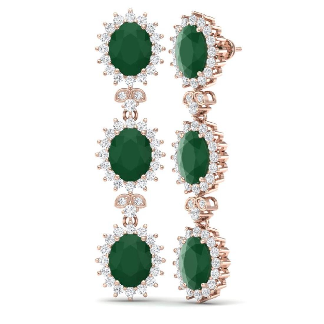 24.52 CTW Royalty Emerald & VS Diamond Earrings 18K - 2