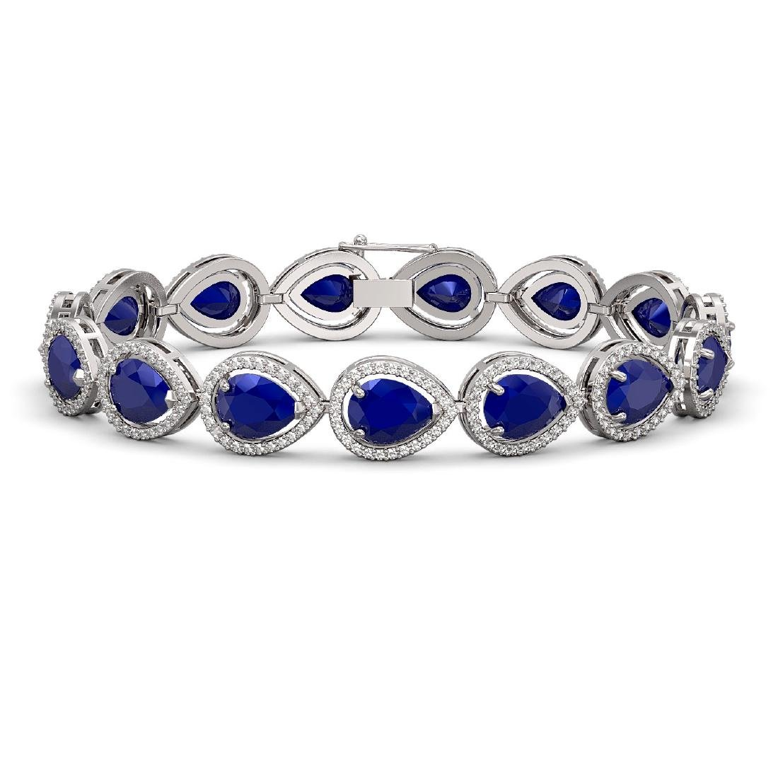 30.06 CTW Sapphire & Diamond Halo Bracelet 10K White