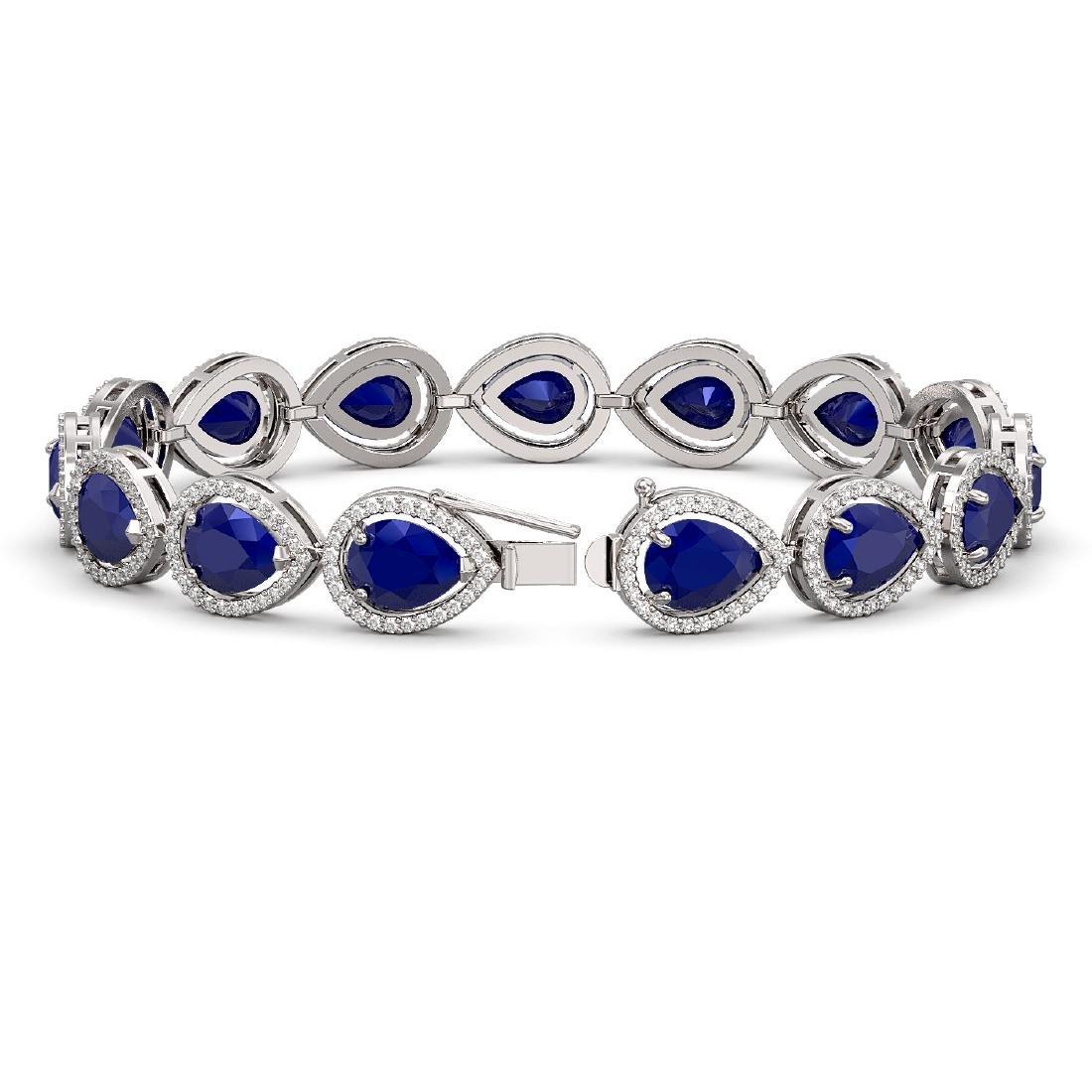 30.06 CTW Sapphire & Diamond Halo Bracelet 10K White - 2