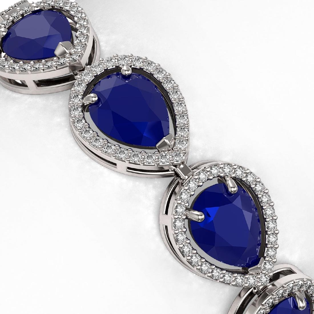 30.06 CTW Sapphire & Diamond Halo Bracelet 10K White - 3