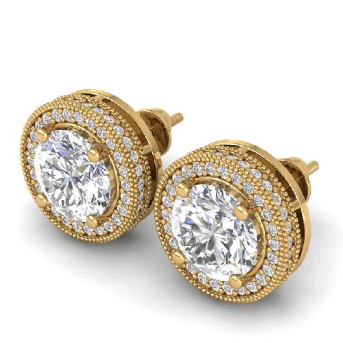 4 CTW Certified VS/SI Diamond Art Deco Stud Earrings - 2