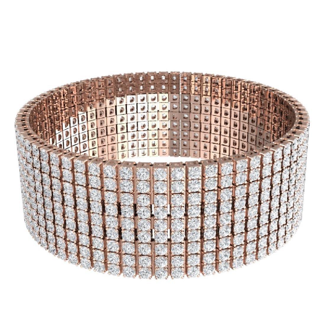 40 CTW Certified VS/SI Diamond Bracelet 18K Rose Gold - 3