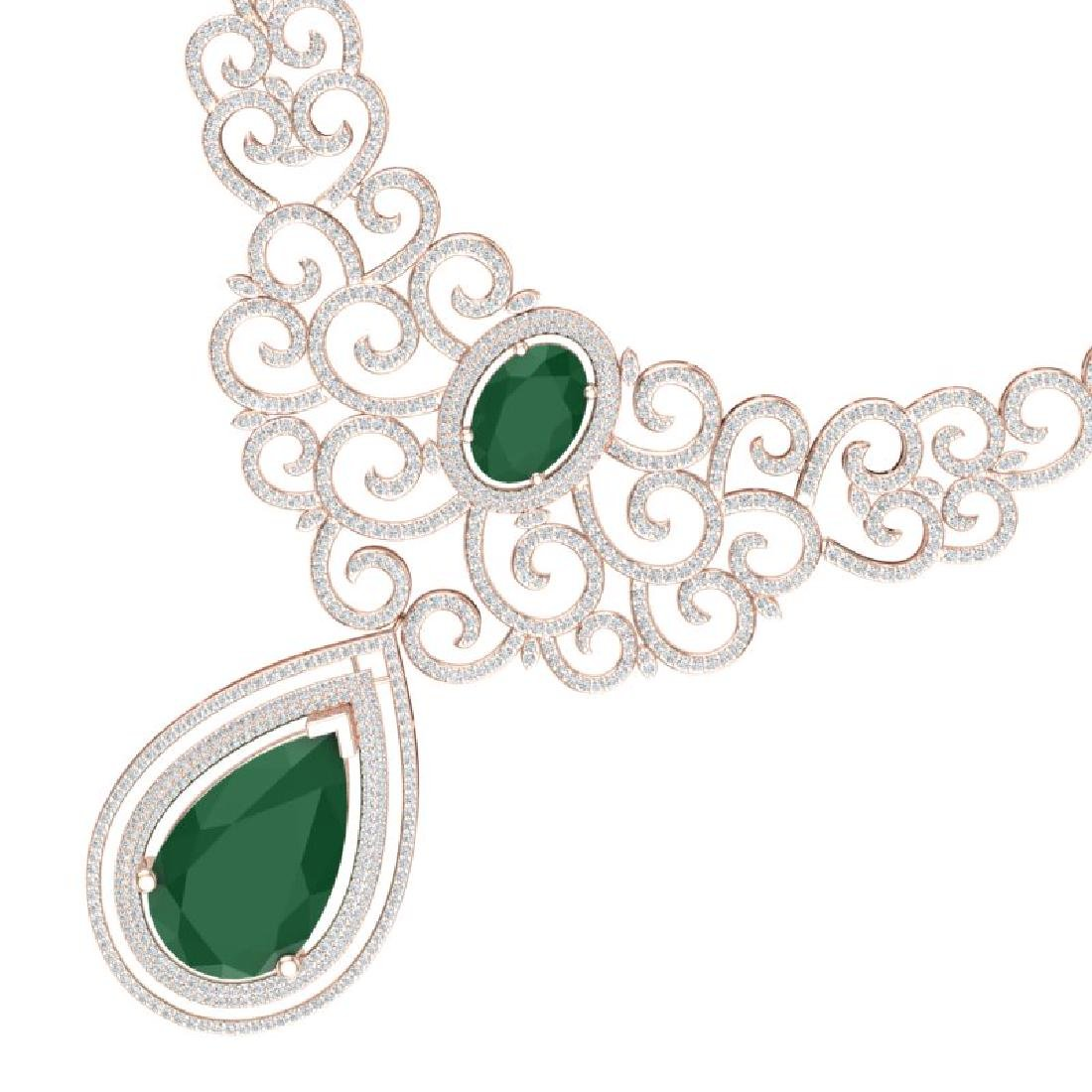 87.52 CTW Royalty Emerald & VS Diamond Necklace 18K