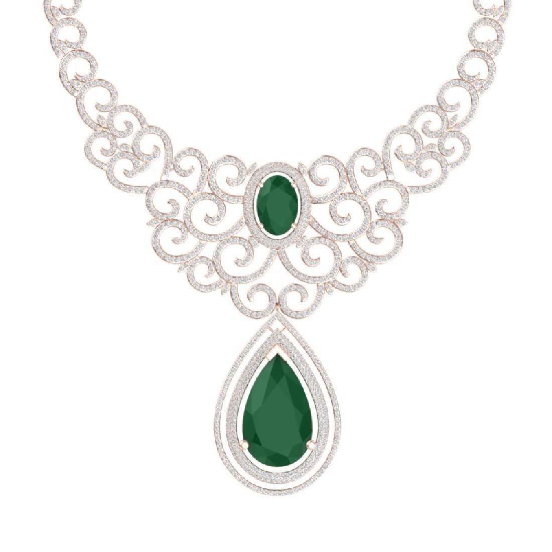 87.52 CTW Royalty Emerald & VS Diamond Necklace 18K - 2
