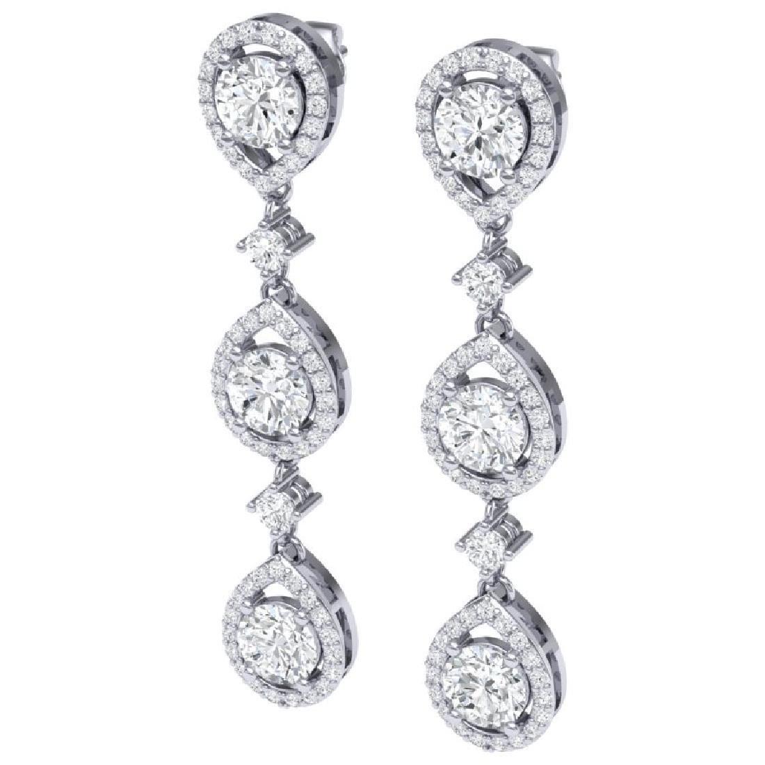 4.45 CTW Royalty Designer VS/SI Diamond Earrings 18K - 2