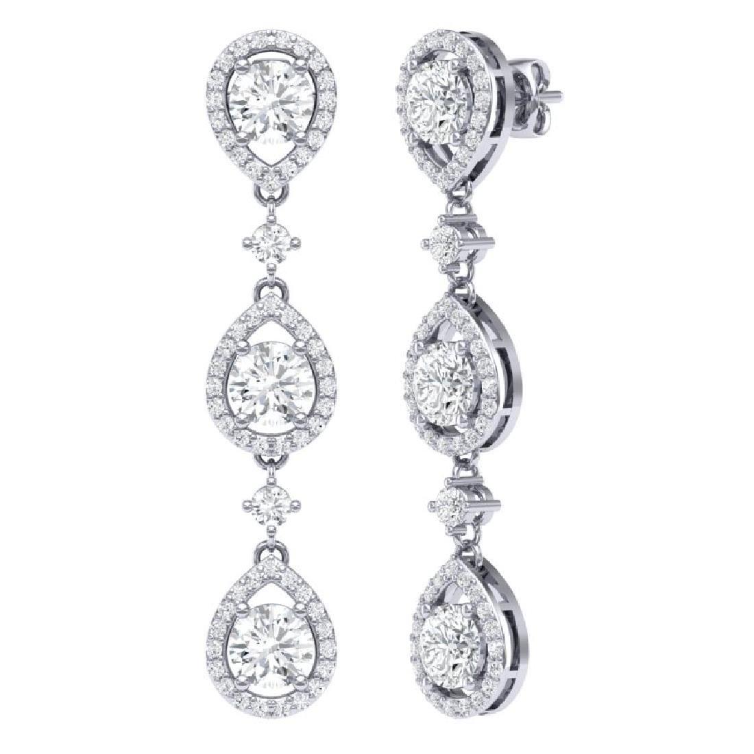 4.45 CTW Royalty Designer VS/SI Diamond Earrings 18K - 3