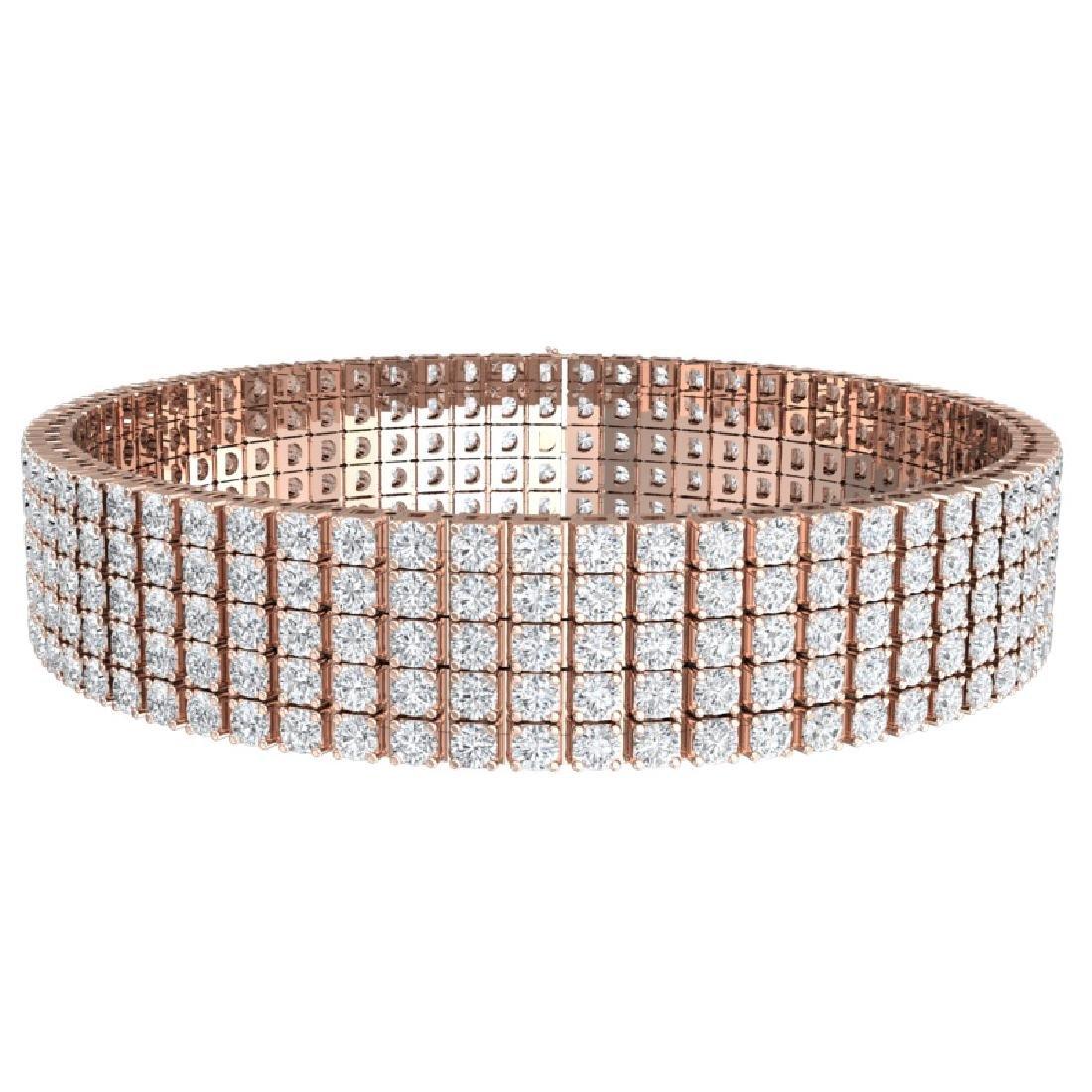 20 CTW Certified VS/SI Diamond Bracelet 18K Rose Gold - 3