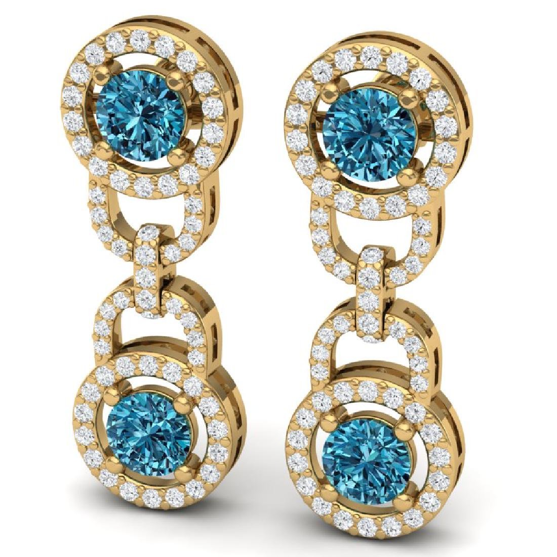 4 CTW SI/I Intense Blue And White Diamond Earrings 18K - 2