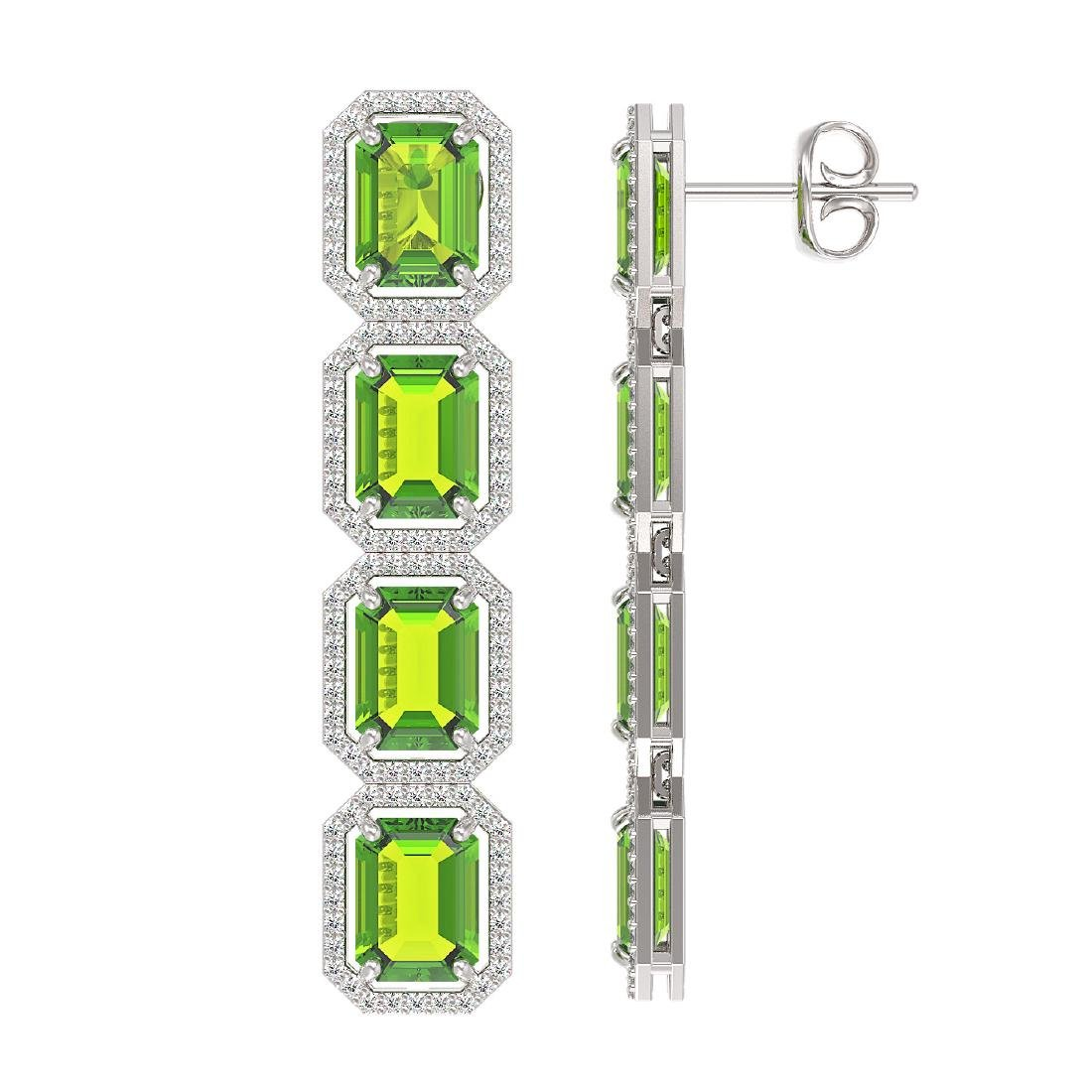17.81 CTW Peridot & Diamond Halo Earrings 10K White - 2