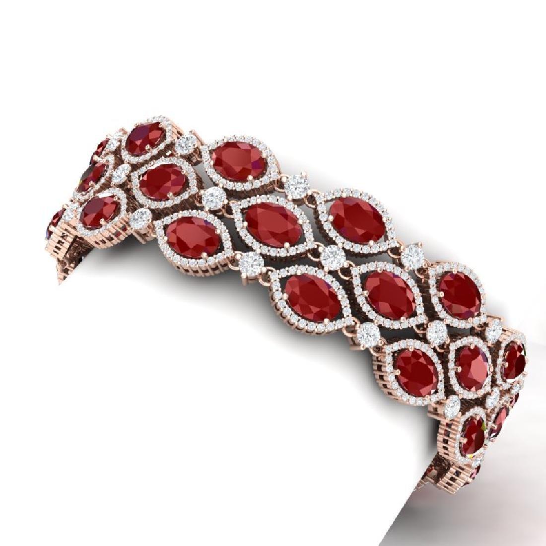 47.84 CTW Royalty Ruby & VS Diamond Bracelet 18K Rose - 2