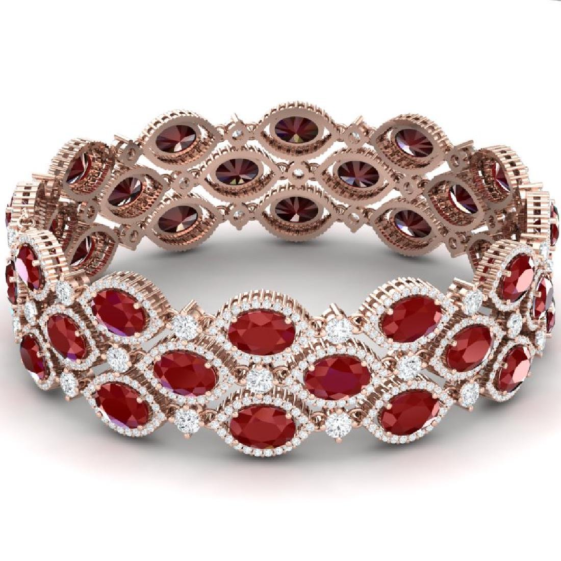 47.84 CTW Royalty Ruby & VS Diamond Bracelet 18K Rose - 3