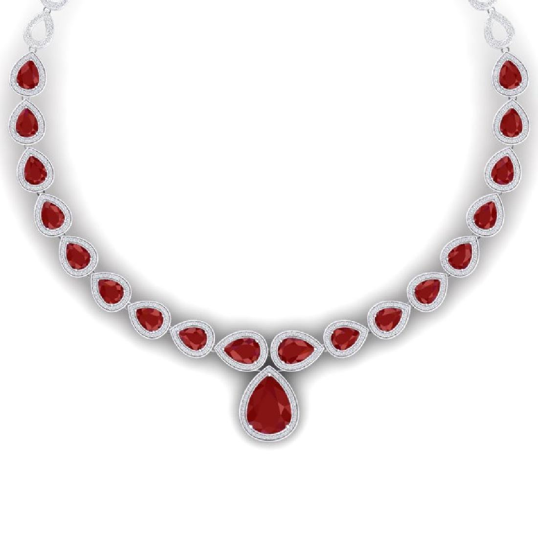 51.41 CTW Royalty Ruby & VS Diamond Necklace 18K White