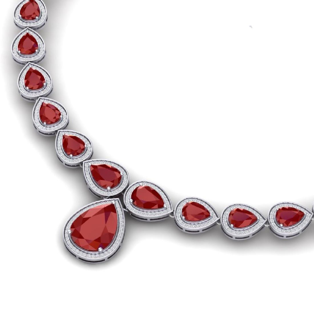 51.41 CTW Royalty Ruby & VS Diamond Necklace 18K White - 2