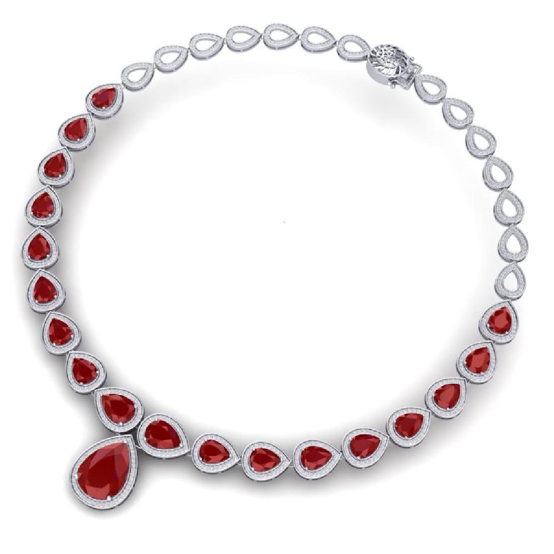 51.41 CTW Royalty Ruby & VS Diamond Necklace 18K White - 3