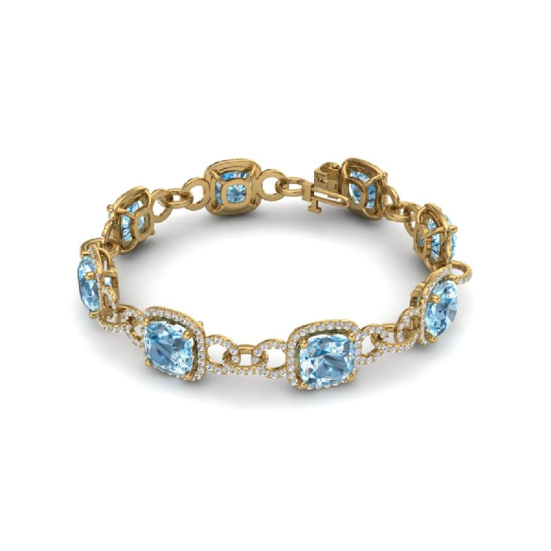 30 CTW Topaz & VS/SI Diamond Bracelet 14K Yellow Gold - 2