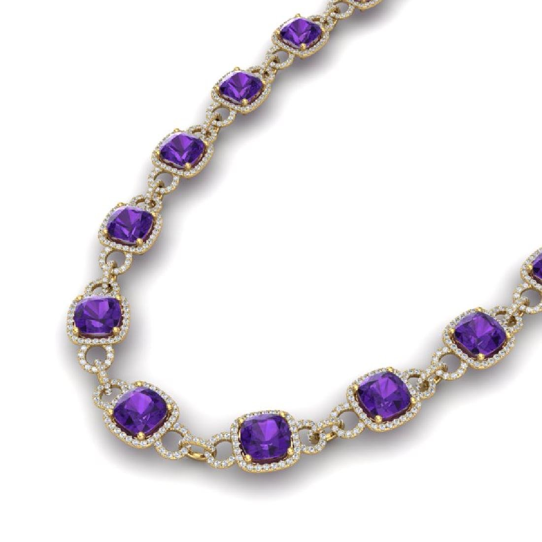 66 CTW Amethyst & VS/SI Diamond Necklace 14K Yellow