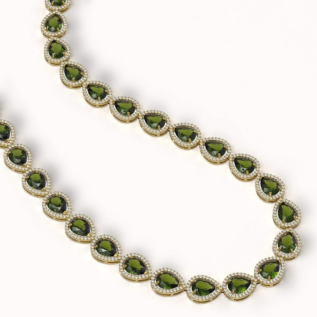 41.6 CTW Tourmaline & Diamond Halo Necklace 10K Yellow - 2